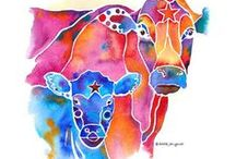 folk art cows / whimsical cows...full of color