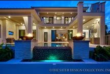 Modern/Contemporary-Styled Home Plans - The Sater Design Collection / Sater Design's modern style house plans feature contemporary detailing such as floor-to-ceiling window walls, clean and simple lines, maintenance-free finishes and more. These designs reflect the Modernist movement that inspired homes with simplicity and honest detailing.