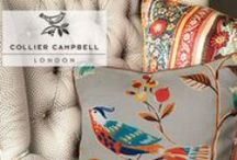 Collier Campbell fabric collection / Fabricut presents the Collier Campbell Fabric Collection called Exotic Inspirations , a salute to Collier Campbell in memory of founder and designer, Susan Collier. Each of the 52 Collier Campbell fabrics offer a kiss of color and a wave of movement, bringing life to gorgeous linen and fabulous embroidery.