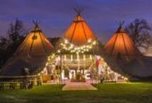 3 Giant Hats + Chill-Out / Three of our stunning giant hat tipis with the addition of the chill-out tipi provides an atmospheric party space for up to 150 seated guests and party away with up to 180 evening guests