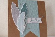four feathers / cards using stampin' up four feathers stamps and framelits