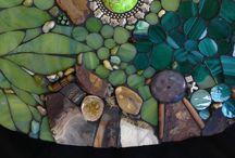 Mixed media mosaics, up cycled mosaics, mosaic up cycled objects by Lisa Eisenhardt