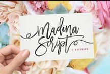Pretty Fonts / Feminine fonts and typefaces: script, handlettered, brush...