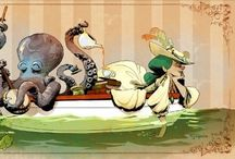 Otto & Victoria / Brian Kessinger, a Disney animator, is working on a book of his own characters; Otto, a domesticated cephalopod and his owner Victoria. If you like these, you should also check out his Tea Girls series on his personal site.