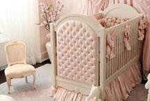 Nursery Pink + Khaki / Ideas for decorating a baby girl's romantic nursery in blush pink and khaki cream.
