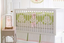 Nursery Green + Pink / Ideas for decorating a baby girl's bright nursery in pink and green apple.