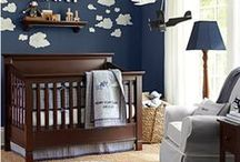 Nursery Blue + Brown / Decorating ideas for a traditional baby boy's nursery in blue and neutrals tones. This color scheme works great with popular themed nurseries like: whales, stars and moon, vintage planes, and bears