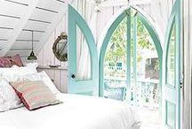 Bedroom - Sea Glass / Decorate a serene bedroom with colors from the ocean. Find ideas featuring a sea glass blue and sandy brown color palette with wavy ruffles.