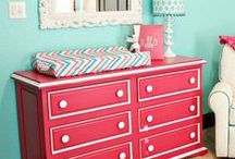 Nursery Punch + Aqua / Decorating ideas for a baby girl's cheerful nursery in fruit punch pink and aqua.