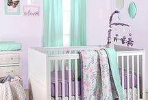 Nursery Aqua + Lavender / Ideas for decorating a baby girl's nursery in lavender and aqua.