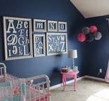 Nursery Indigo + Pink + Aqua / Ideas for decorating a baby girl's nursery in indigo, pink and aqua.