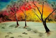 Winter Wonderland Artwork at I Paint Today / These snow filled paintings will make you want to pick up your paintbrush.
