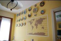 Progetto planisfero / Realizzazione su muro di stencil raffigurante un planisfero