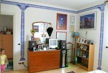 Progetto colonne / Decorazione di stanza con stencils colonne e frontoni greci