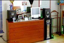 Impianto audio da casa / Progettazione e realizzazione di mobiletto porta-autoradio, progettazione e dimensionamento casse per altoparlanti.
