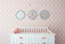Nursery Blue + Pink / Ideas for decorating a simple pink and blue nursery for a baby girl