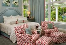 Bedroom Silver + Red + Blue / Color ideas for decorating a bedroom in silver, cherry red, and blue