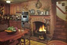 Kitchen Fireplaces / #KitchenDesigns with #Fireplaces