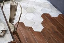 Creative Flooring / Unexpected patterned floors, wood and tile juxtapositions, and all delightful visual texture.