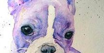 Malika Pet Art - original animal watercolour paintings and prints / Vibrant colourful original watercolour animal paintings and prints