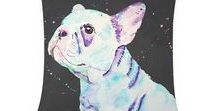 All things french bulldog / Vibrant colourful prints of original animal (dogs, cats, horses) watercolour paintings. French bulldog paintings and digital photos on a range of products such as baby onesies, t-shirts, long sleeve shirts baseball shirts, throw pillows, phone cases, pet clothing, pet beds, home decor and so on ☺. Unique and colourful and cute. You will stand out in the crowd.