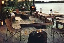 Terrace / terrace, wood, furniture, fire, barbecue, plants, garden, lights