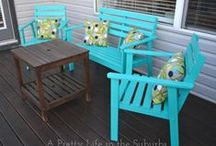 Garden Furniture Painted / Ideas for colour, chairs & table to match umbrella