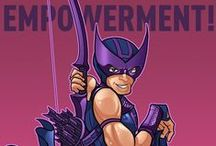 "Hawkeye Initiative / The Hawkeye Initiative ""How to fix every Strong Female Character pose in superhero comics: replace the character with Hawkeye doing the same thing."""