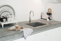 Dream kitchen / Nordic, industrial, white, grey, black - simple and clean lines. Usually with a small twist.