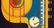 """Jazz  Illustrations  Concert Festival / Vous trouverez dans ce tableau des affiches concernant le Jazz; des annonces de concerts (souvent """"vintage"""" ou festivals) mais aussi des dessins ou des peintures qui vous mèneront vers les sites web d'où sont extraits les visuels de premiers plan que vous apercevez et plus encore..."""