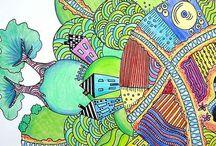Zentangles / Examples of zentangle art, resources, class ideas, etc.