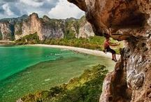 """Rock Climbing / """"When you ride your bike, you're working your legs, but your mind is on a treadmill. When you play chess, your mind is clicking along, but your body is stagnating. Climbing brings it together in a beautiful, magical way. The adrenaline is flowing, and it's flowing all the time."""""""
