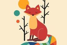 Breakout Kids Zone / Creative kids space, up cycled furniture with bright colours teal & orange, red & grey fox appears...