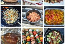 Camping food. / A collection of food to take and cook on your camping holiday.