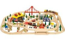 wooden trains / All about wooden trains for Kids- These are wonderful long lasting toys that can be passed down and played with for hours.  Increases imagination and creativity!
