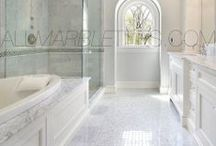 Bianco Carrara White Marble Carrera Tile Mosaic Border Moulding Collection / The Bianco Carrara collection or white Carrara Collection allows you to play with colors for your interior. Besides getting a lovely option of pure white on tile, this collection also features a white grey hue to try. With these two colors you can create a modern or classic looking theme in your home according to preference. Any plain looking house has a chance of being tweaked up by the right size and color in the Bianco Carrara or White Carrara collection. www.allmarbletiles.com
