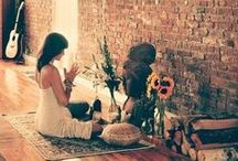 Yoga Sanctuary / We love having a beautiful + serene place to practice in our home. Here are ideas to inspire us to design the perfect home practice space!