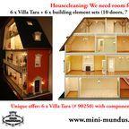 Housecleaning: 30% discount! / Housecleaning: We need space for new items! Onetime offer only: 6 x Villa Tara (MDF dolls house kit) with component set (10 doors, 7 windows, stair) at 30% discount! It's worthwile to be fast: Only 6 pieces. That's it!  ---  Hausputz! Wir brauchen Platz für neue Ware! Einmaliges Angebot: 6 x Villa Tara (MDF-Bausatz) mit Bauelemente-Set (10 Türen, 7 Fenster, Treppe) zu 30% Rabatt! *) Nur 6 Stück - Das war's!   https://www.minimundus.de/en/index