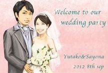 ウェルカムボード「お客様のイラスト」 / 完成したお客様の似顔絵ウェルカムボード http://wedding.mypic.jp/pic/index.html/
