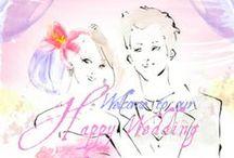 マイピク・ウェルカムボード / 似顔絵ウェルカムボード http://wedding.mypic.jp/