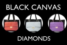 Diamonds Black Canvas / A collection of our DIAMONDS Black Canvas bags in the Together, Super Together, Mini Together, and Here Pochette sizes!