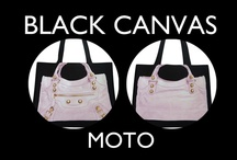 Moto Black Canvas / A Collection of our MOTO Black Canvas bags in Super Together, Together, Mini together and Here Pochettes