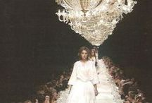 On the Catwalk / Beautiful chandeliers adding an extra touch of glamour to the runway. www.italian-lighting-centre.co.uk