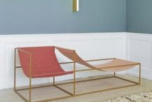 furniture /  eclectic but modern furniture, materials that can age, brass, marble, velvet ...