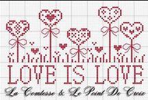 Amour Amitié au point de croix