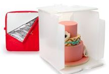 Cake Porters / Innovative Sugarworks' Cake Porters allow you to safely transport your cake creations. The Insulated cover protects from heat, humidity, odor, and other environmental factors.