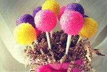 cake pops / cake pops in an upright, ball side up fashion...great for bouquets and desert displays.