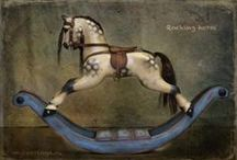 rocking horse / antique toys horses