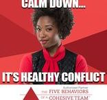Conflict: The second of the Five Behaviors of a Cohesive Team / Productive conflict is focused on concepts and ideas.