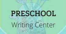 Preschool Writing Center / Preschool Writing Center Set Up + Organization Ideas | Preschool writing center activities invite children to explore drawing and learning to shape letters beginning with their names. Become a more confident and effective preschool writing teacher. Explore word families spinners, work station tips, how to set up supplies, how to build fine motor schools and authentic writing activities. FREE printables, video tutorials, & writing lessons from Nellie Edge Online Seminars.